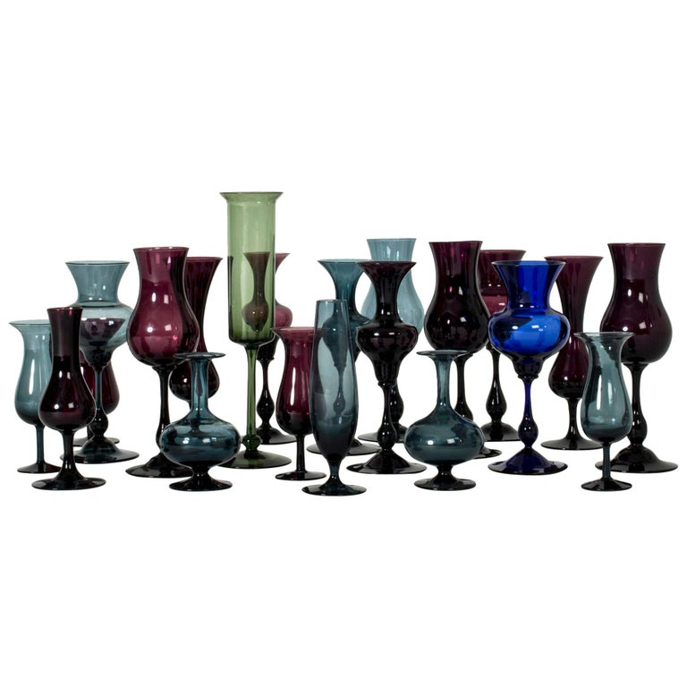 Collection of Glass Vessels by Arthur Percy and Hugo Gellin For Sale