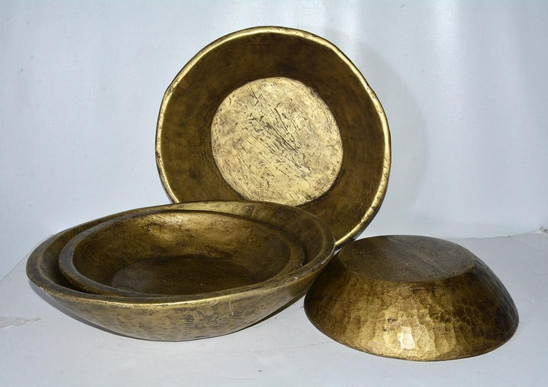Rustic Collection of Gold Giltwood Serving Bowls For Sale