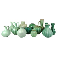 Collection of Green Art Deco Pieces Made in Sweden, 1930s-1940s