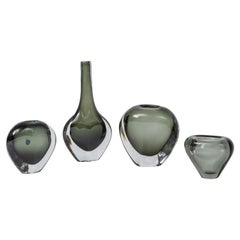 Collection of Grey Black Murano Vases, Italy 1960's