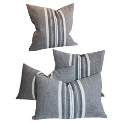 Collection of Grey Flannel Handwoven Stripped Pillows, 4 Pieces