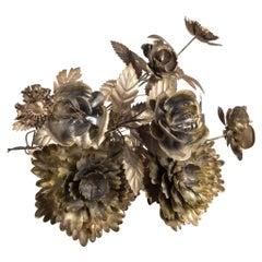Collection of Hand Cut Metal Flower Sculpture
