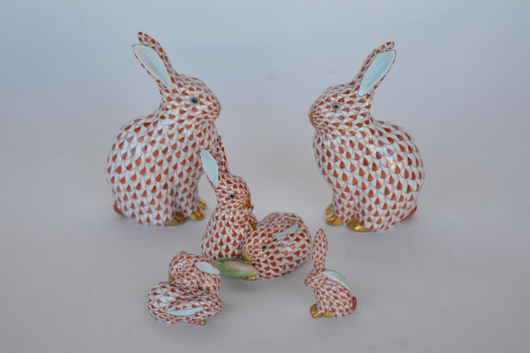 Collection different animals by Herend. Each stamped on the bottom. Smallest item (bunny) measures: 3.5 inches x 1.25 inches.
