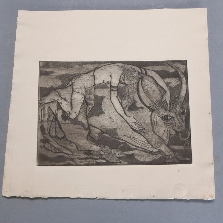 A collection of 4 James Joseph Kearns Expressionist lithographs depict figures in various settings, circa 1954  ***DELIVERY NOTICE – Due to COVID-19 we are employing NO-CONTACT PRACTICES in the transfer of purchased items.  Additionally, for those