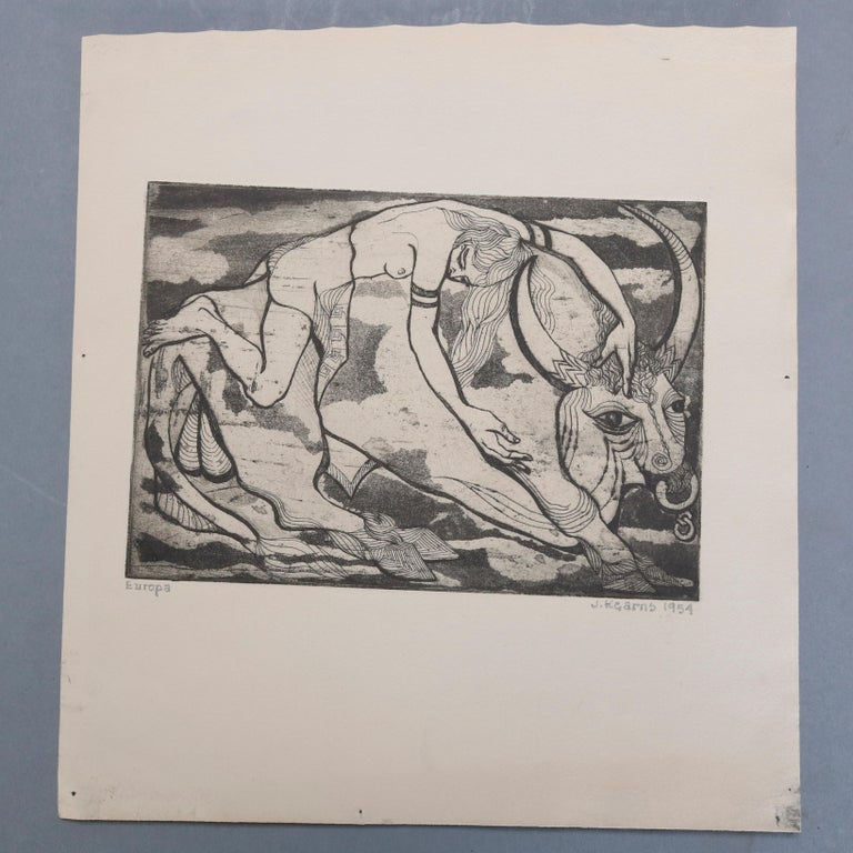 Collection of James Joseph Kearns Expressionist Lithographs with Figures In Good Condition For Sale In Big Flats, NY