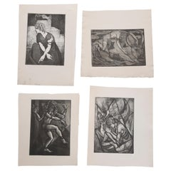 Collection of James Joseph Kearns Expressionist Lithographs with Figures