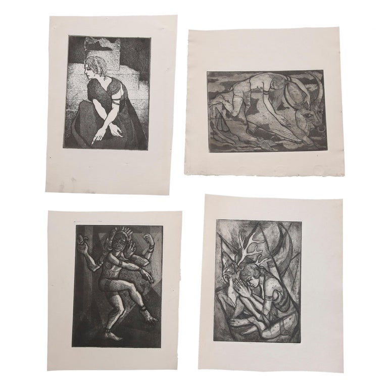Collection of James Joseph Kearns Expressionist Lithographs with Figures For Sale