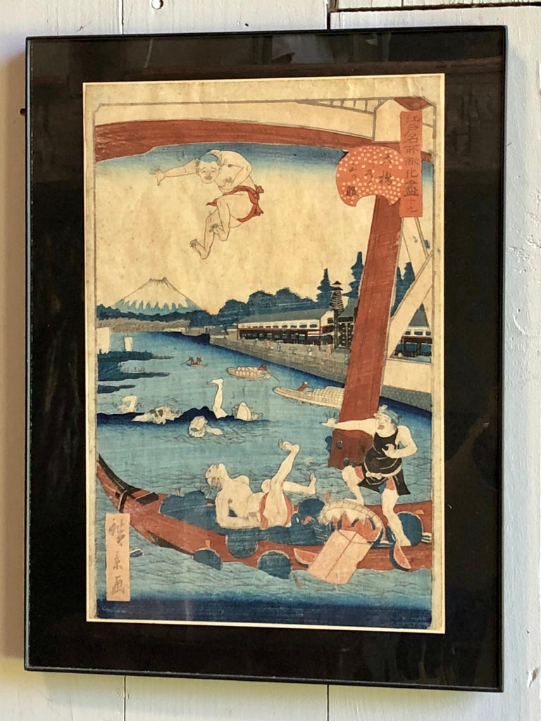 Collection of Japanese Wood-Block Prints, 19th Century For Sale 5