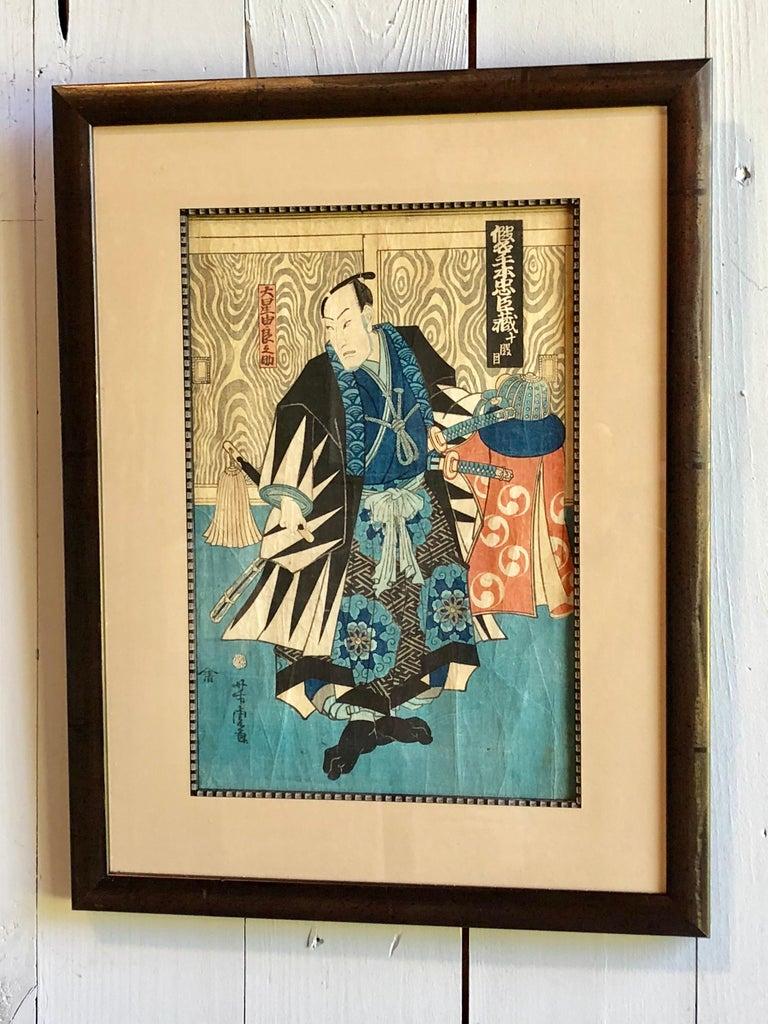 A collection of 8 Japanese wood-block prints, late Edo period circa 1850-1862, by various artists including Kunuyoshi, Hirokage, Kunisada, and Fusatane. Recently matted and framed, some in giltwood frames.