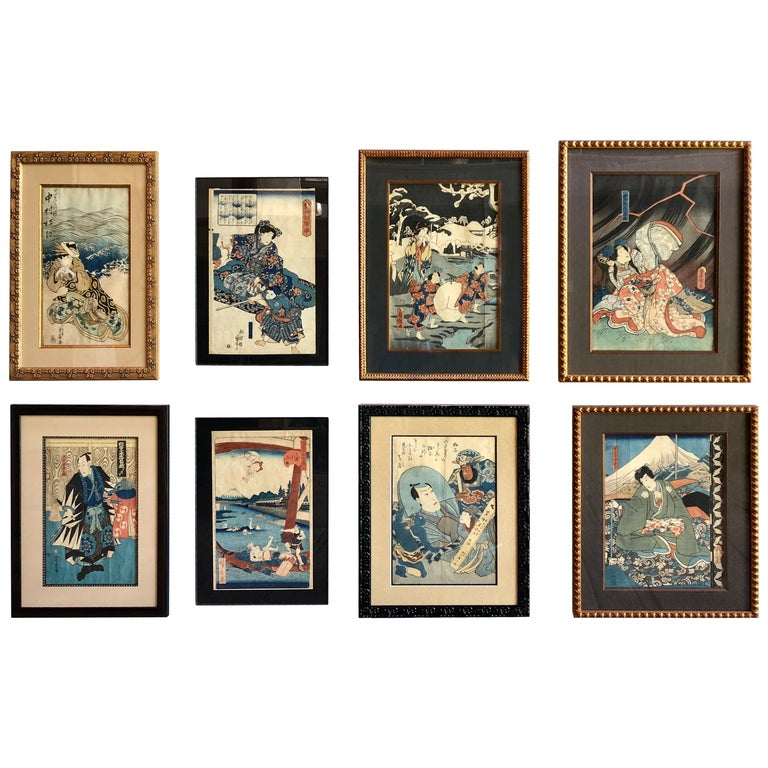 Collection of Japanese Wood-Block Prints, 19th Century For Sale