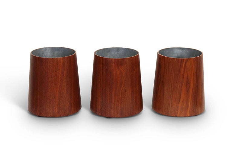 Mid-Century Modern Collection of Jens Risom Wastebaskets For Sale
