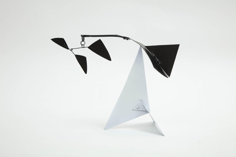 """Contemporary New York artist/sculptor Jim Hunter's modern collection of five table top mobiles are Kinetic sculptures. All works are accompanied with a """"Certificate of Authenticity"""" from JLH Art+Design. Dimensions: Image 2 - Base - 6.25"""