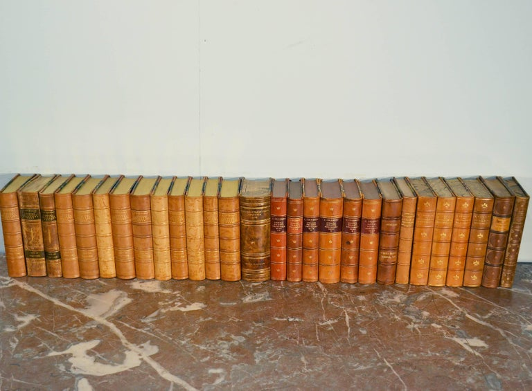 Embossed Collection of Leather Bound Books, Series 109 For Sale