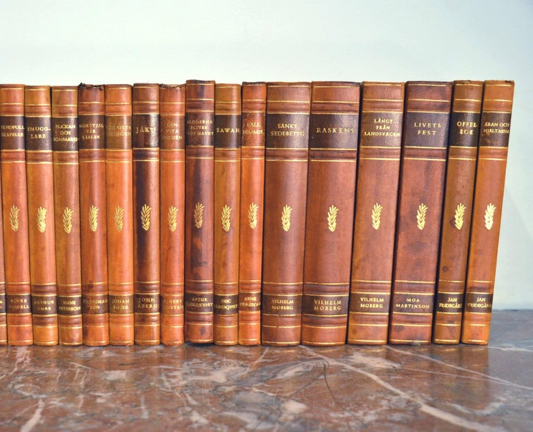 Swedish Collection of Leather Bound Books, Series 110 For Sale