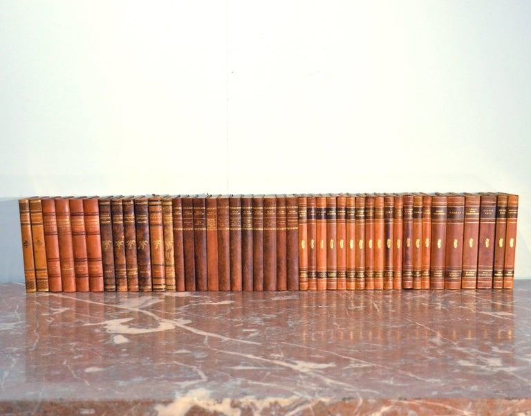 Embossed Collection of Leather Bound Books, Series 110 For Sale