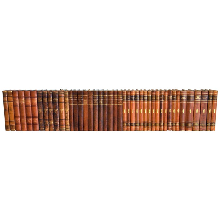 Collection of Leather Bound Books, Series 110 For Sale