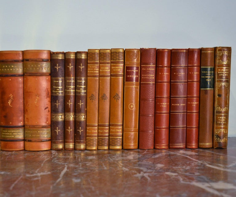 Embossed Collection of Leather Bound Books, Series 111 For Sale
