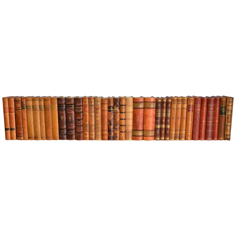 Collection of Leather Bound Books, Series 111 For Sale