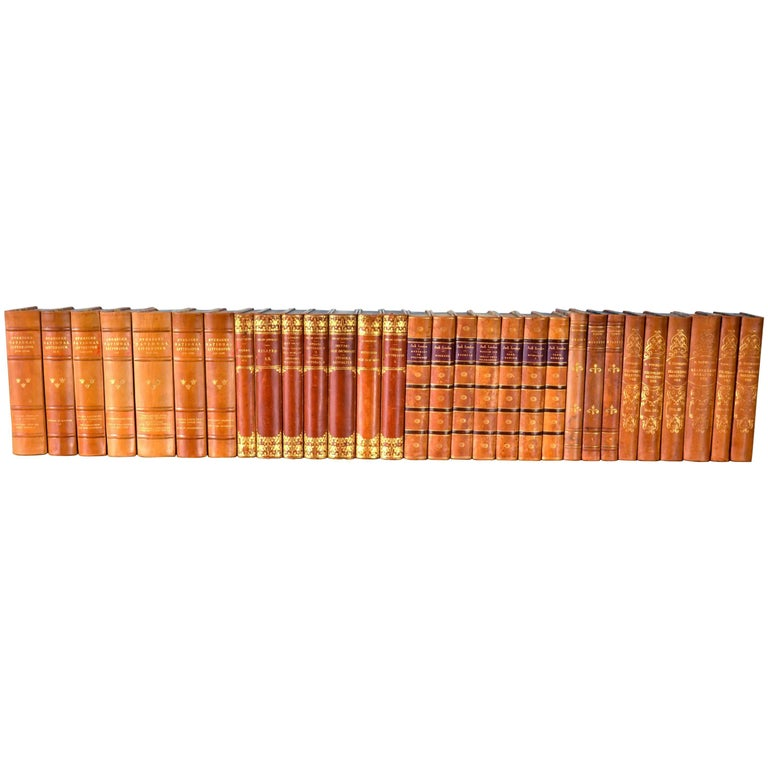 Collection of Leather Bound Books, Series 117 For Sale