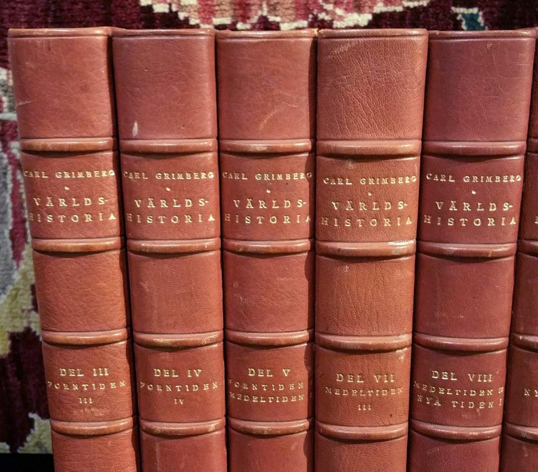 This beautiful collection of very attractive leather-bound Swedish Literature books is in a group of 8 books, in warm rich tones of dark reddish brown with gold leaf embossing and page edging. Each book has a lovely marbled front and back cover in