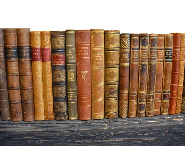 Swedish Collection of Leather Bound Books, Series 206 For Sale