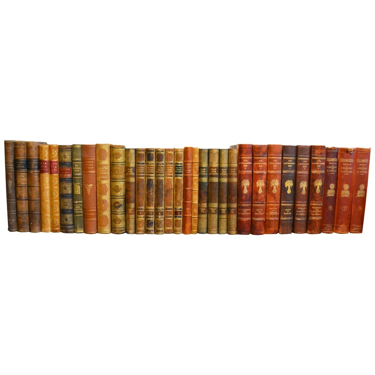 Collection of Leather Bound Books, Series 206 For Sale
