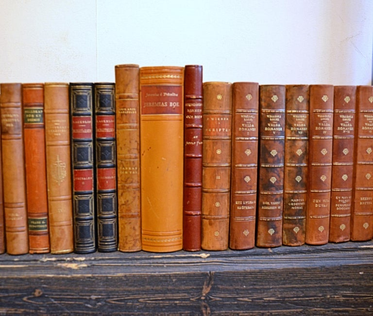 Embossed Collection of Leather Bound Books, Series 208 For Sale