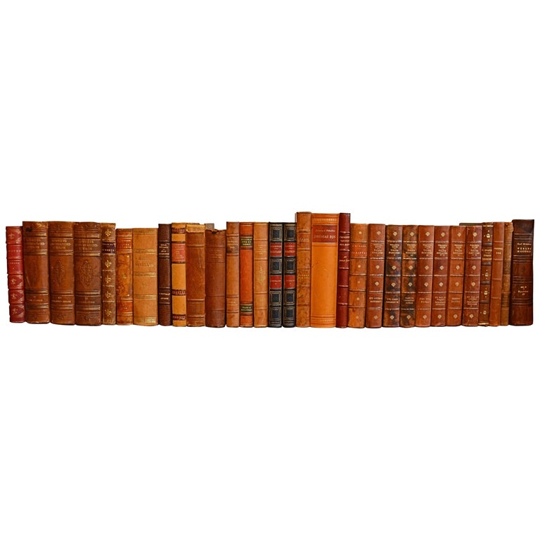 Collection of Leather Bound Books, Series 208 For Sale