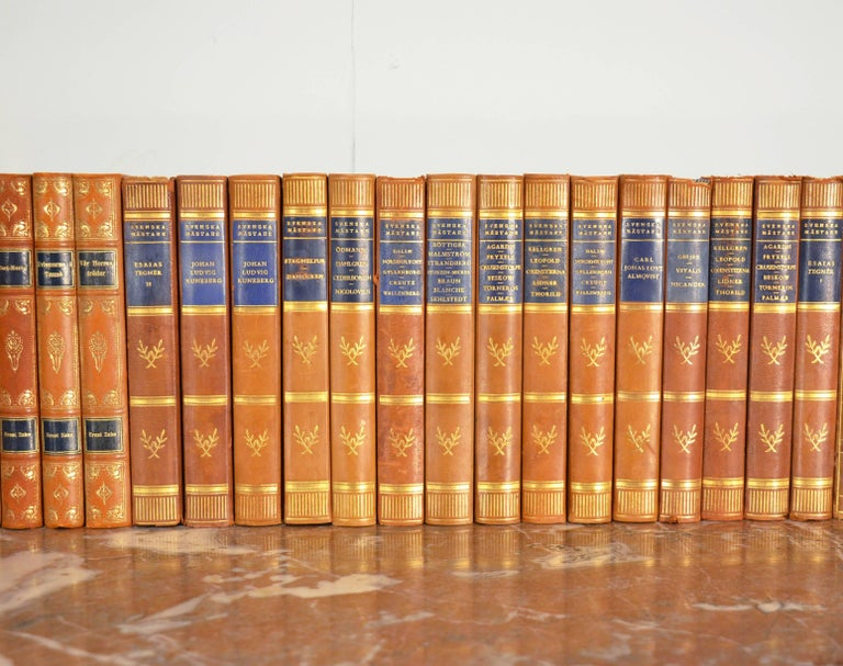 Embossed Collection of Leather Bound Books, Series 107 For Sale