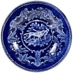 Collection of Mario Buatta a Blue and White Staffordshire Saucer Showing Dogs