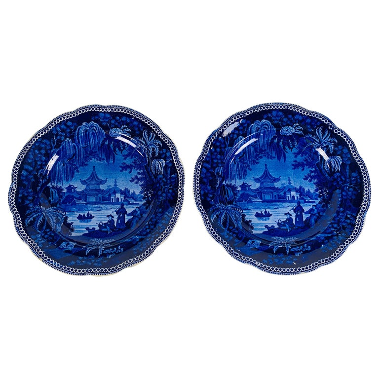 Collection of Mario Buatta a Pair of Deep Blue and White Dishes For Sale