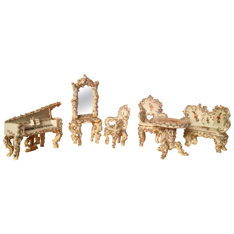 Collection of Meissen Miniatures with Applied Floral Work Six Pieces For Sale