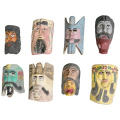 Collection of Midcentury South American Multicolored Wooden Masks