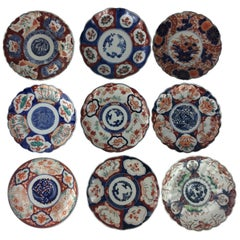 Collection of Nine Japanese Imari Chargers