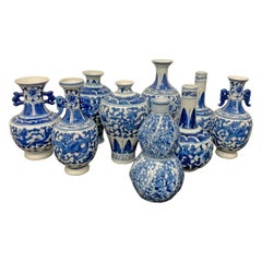 Collection of Nine Petite Chinese Blue and White Vases