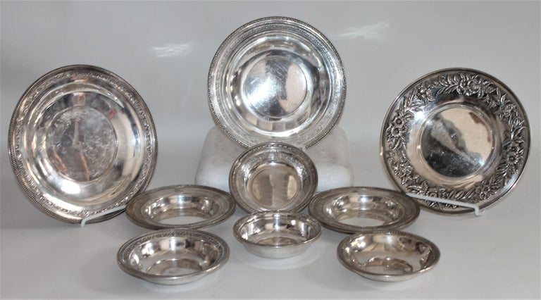 Collection of sterling silver bowls and serving dishes. A set of nine pieces in great condition. All are marked and stamped sterling.   Measurements are as follows -  For smaller bowls- larger bowl- 6.75 x 1.5  Medium bowls -6 x 1 , 6 x 1
