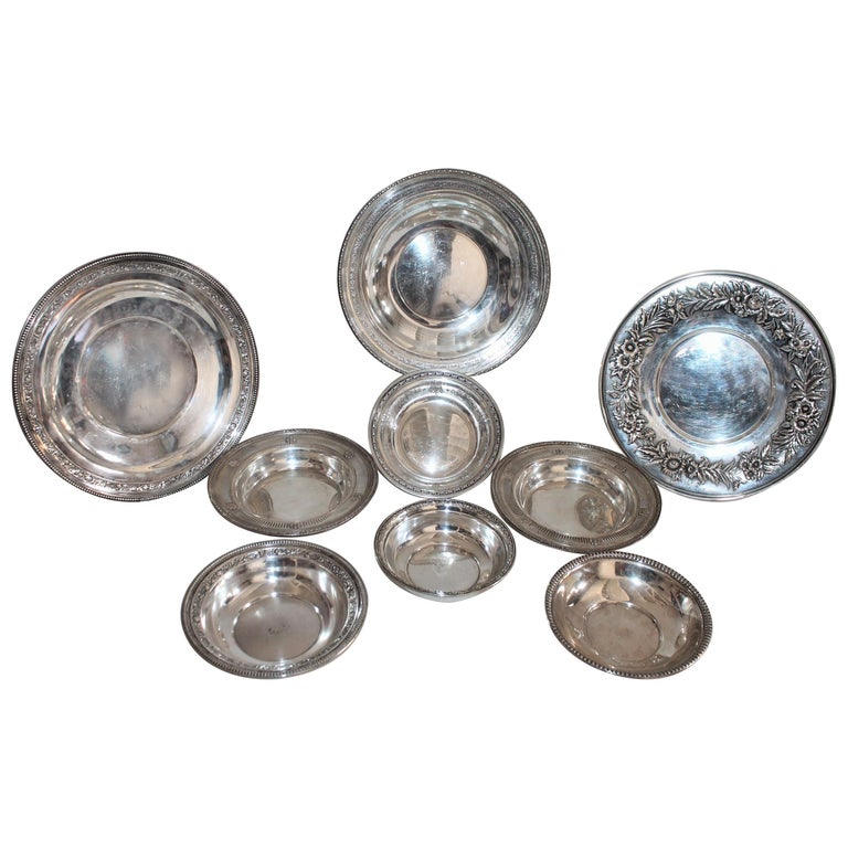 Collection of Nine Silver Sterling Serving Dishes and Bowls For Sale