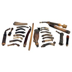 Collection of Old Pipes in Various Materials, Include Mouth Pieces, Stems, Bowls