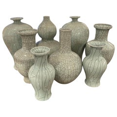 Collection of Pale Blue Crackle Design Vases, China, Contemporary