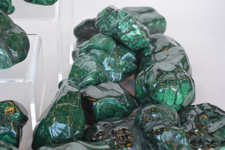 Contemporary Collection of Polished Malachite Stones For Sale
