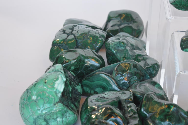 Collection of Polished Malachite Stones For Sale 1