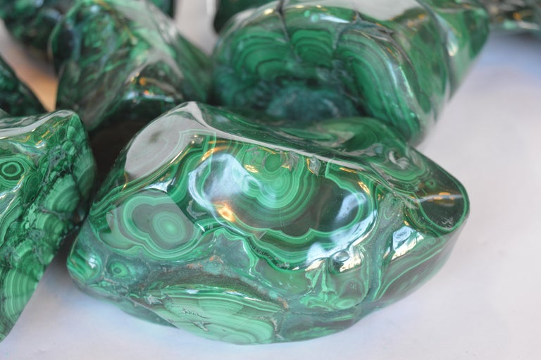Collection of Polished Malachite Stones For Sale 2