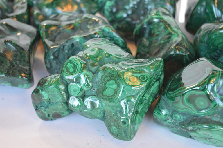 Collection of Polished Malachite Stones For Sale 3