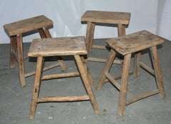 Collection of Rustic Asian Teak Stools, Sold Singly