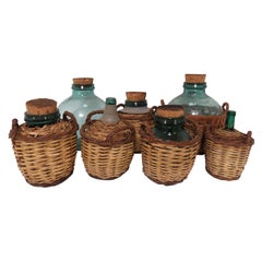 Collection of Seven Antique French Demijohn Carboy Bottles, circa 1930s-1940s