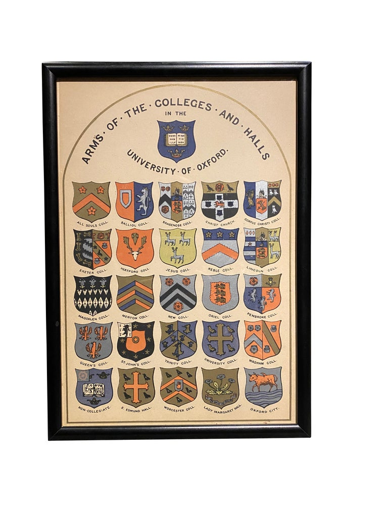 Each painted shield shape tin mounted on a wood conforming back. Many colleges identified by labels on reverse. Together with a framed print identifying the colleges.