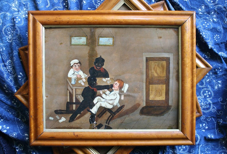 Collection of Six 19th Century Folk Art Oil on Board Boxing Fighting Scenes For Sale 5