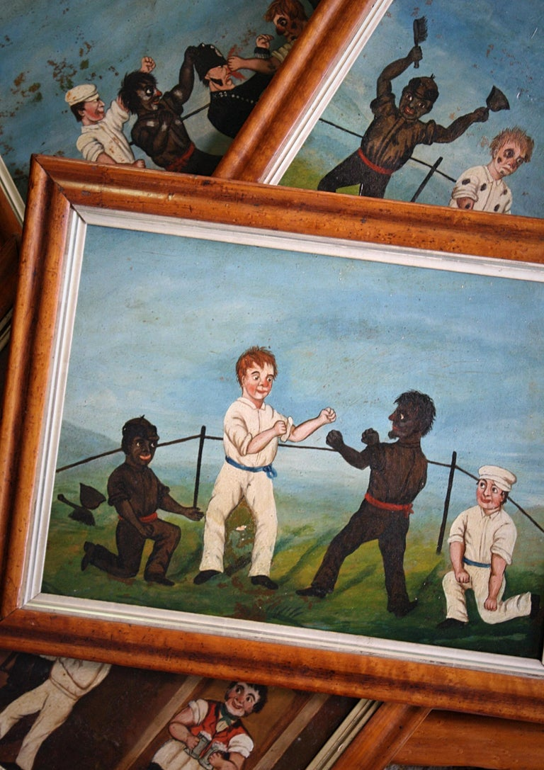 Collection of Six 19th Century Folk Art Oil on Board Boxing Fighting Scenes For Sale 6