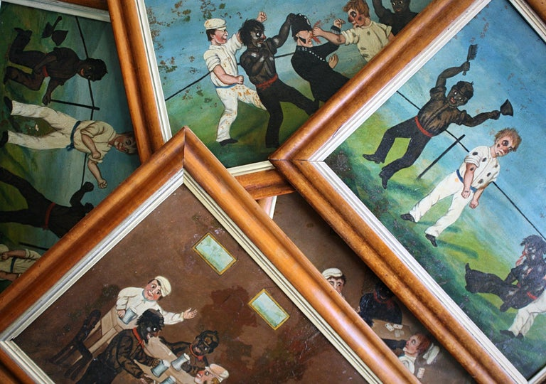 Collection of Six 19th Century Folk Art Oil on Board Boxing Fighting Scenes For Sale 7