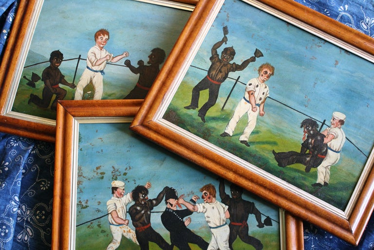 Collection of Six 19th Century Folk Art Oil on Board Boxing Fighting Scenes For Sale 9
